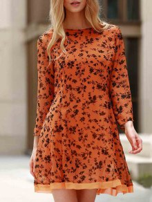 3/4 Sleeve Floral Print Flared Dress