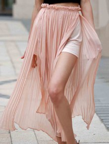 Pleated Chiffon Long Skirt