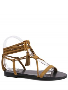 Flat Heel Tassel Lace-Up Sandals - Brown 38