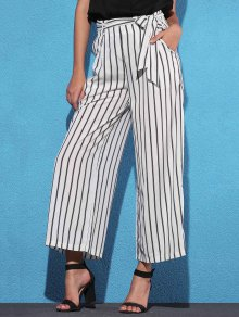 Side Knot Stripe Wide Leg Pants - White S