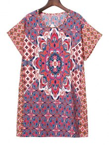 Printed Round Collar Short Sleeve Dress