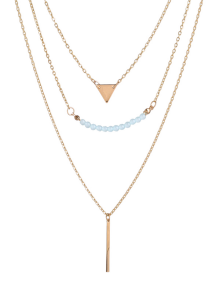 Beaded Bar Triangle Pendant Necklace - Golden