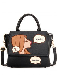 Cartoon Pattern Embroidery PU Leather Tote Bag - Black
