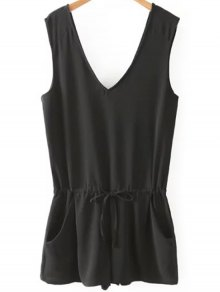 Solid Color V Neck Sleeveless Romper - Black L