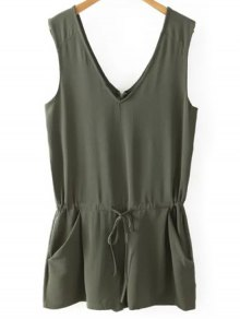 Solid Color V Neck Sleeveless Romper - Blackish Green M