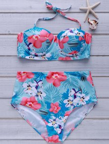 Tropical Print High-Waisted Bikini Set