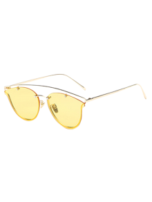 Transparent Lens Crossbar Butterfly Sunglasses
