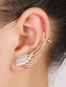Rhinestones Hollow Out Wings Clip Earrings