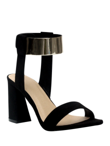 Black Flock Chunky Heel Sandals - Black