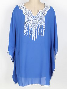 Loose Lace Spliced Round Neck Bat-Wing Sleeve Cover Up - BLUE ONE SIZE(FIT SIZE XS TO M)