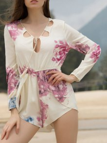 Cut Out Large Floral Irregular Romper - Beige
