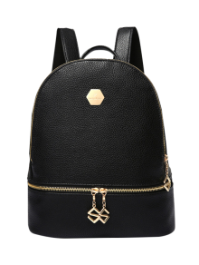 PU Leather Zips Solid Color Satchel - Black