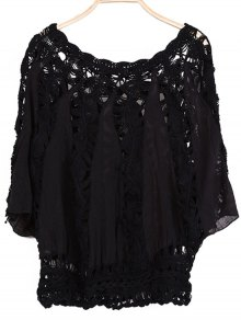 Batwing Sleeve Crochet Blouse