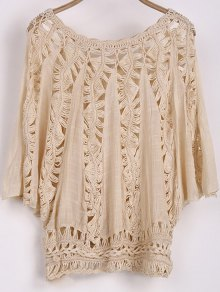 Batwing Sleeve Crochet Blouse - Apricot