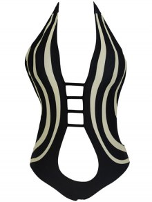 Cut Out Halter One Piece Swimwear - Black