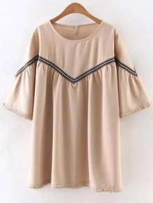 Embroidered Tassels 3/4 Sleeve Tunic Dress