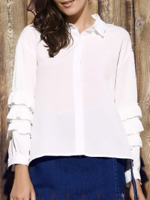 Tiered Ruffle Sleeve White Shirt
