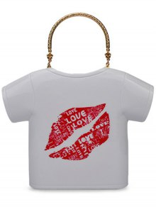 T-Shirt Shape Lip Print Evening Bag