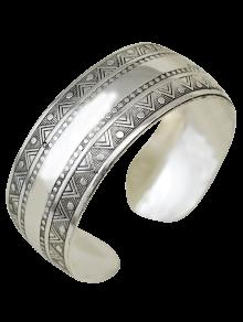 Ethnic Triangle Alloy Cuff Bracelet - Silver