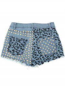 Denim Rivet Embellished Pockets Shorts