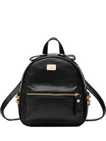 Metal Rivets Zippers PU Leather Backpack - Black
