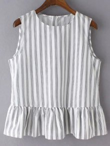 Striped Jewel Neck Sleeveless Ruffles Spliced T-Shirt