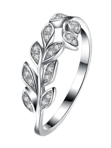 Leaf S925 Diamond Ring - Silver 8