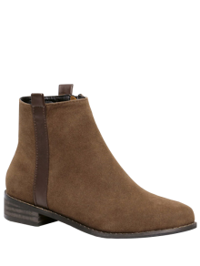 Rounde Toe Side Zip Suede Boots - Brown