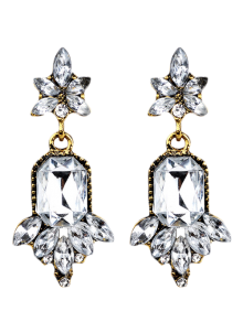 Faux Crystal Chandelier Floral Drop Earrings