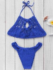 Azul de cuello alto de ganchillo Set Bikini