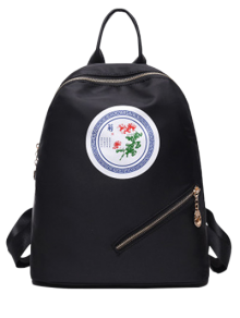 Chrysanthemum Pattern Nylon Zippers Backpack - Black