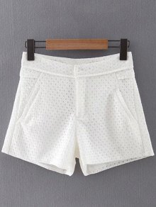 Lace Solid Color Pockets Shorts