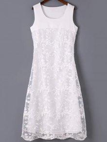 Organza Spliced Round Neck Sleeveless Embroidery Dress - White