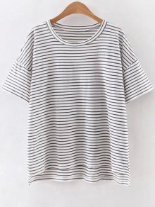 Striped Round Neck Half Sleeve High Low Hem T-Shirt - White S