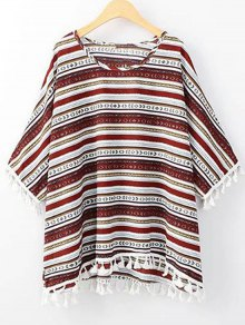 Ethnic Print Scoop Neck 3/4 Sleeve T-Shirt