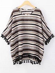 Ethnic Print Scoop Neck 3/4 Sleeve T-Shirt - Black