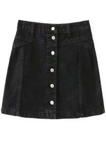 A Line Button Up Denim Skirt - Black