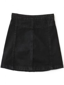 A Line Button Up Denim Skirt BLACK: Skirts M | ZAFUL
