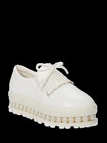 Fringe Faux Pearl Slip-On Platform Shoes - White