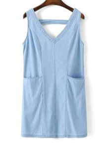 V-Neck A-Line Tank Dress - Blue L