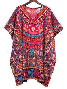 Batwing Sleeve Geometric Print Dress