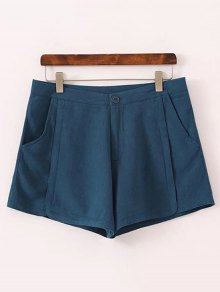 Pure Color High Waisted Shorts - Blue