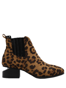Leopard Print Splicing Stitching Ankle Boots - Leopard