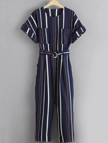 Stripe Round Neck Short Sleeve Jumpsuit - Stripe