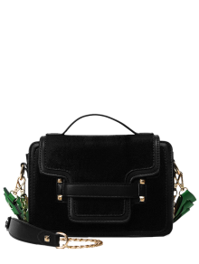 PU Leather Spliced Suede Rivet Handbag - Black