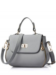 Hasp Solid Color PU Leather Tote Bag - Gray