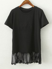 Tassels Spliced Round Collar Short Sleeve T-Shirt