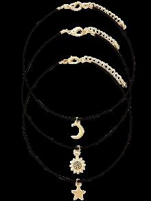 Moon Star Sun Layered Necklace Set - Golden