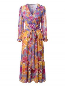 Flower Print V Neck Long Sleeve Self Tie Dress - L