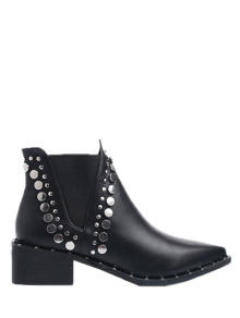 Punk Métal Pointu Bottines - Noir